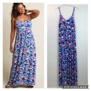 ModCloth floral cozy stretchy maxi sun dress EUC